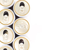 Only un-opened drinks can in row of opened can Royalty Free Stock Images