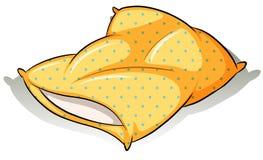 Un oreiller jaune Photographie stock