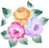 Un ornamento rosa di 3 fiori nello stile barrocco Mani del disegno Vect royalty illustrazione gratis