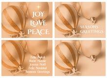 Un oro di quattro modelli della cartolina di Natale Immagini Stock
