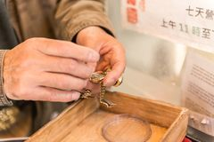 Un orologiaio che lavora alla via a San Francisco, California, U.S.A. fotografia stock libera da diritti