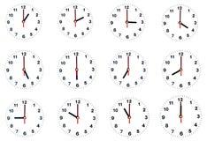 Un orologio da dodici ore isolato Fotografia Stock