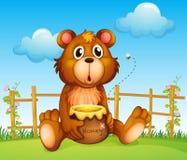 Un orso con il vaso del miele e l'ape del miele Immagini Stock Libere da Diritti