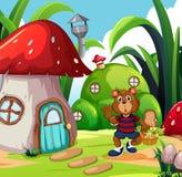 Un oso con la cesta vegetal en tierra de la fantasía libre illustration