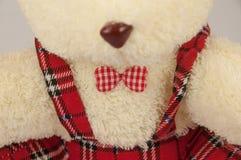 Un oso de peluche con la corbata de lazo roja Fotografía de archivo