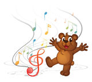 Un oso del baile y las notas musicales Imágenes de archivo libres de regalías