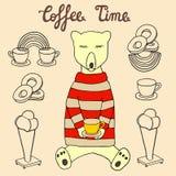 Un oso en un jersey con una taza de café, de helado y de anillos de espuma Bosquejo dibujado mano del tiempo del café Foto de archivo libre de regalías