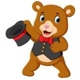Un oso grande del circo utiliza el mejor traje y sostener sombrero ilustración del vector