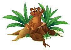 Un oso que agita su mano mientras que se sienta sobre una madera tajada libre illustration