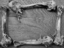 Un osso rosicchiato sotto forma di struttura su un verro di legno Fotografia Stock