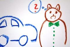 Un ours décidant au sujet de la nouvelle voiture sur le dessin du ` s d'enfant Photos libres de droits