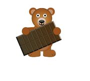 Un ours de nounours retenant un bar de chocolat Photo stock