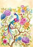 Un pájaro de la felicidad en un jardín de hadas stock de ilustración