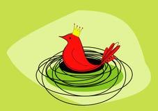 Un pájaro rojo real se sienta en él es jerarquía - trama Imagen de archivo libre de regalías