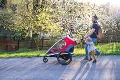 Un père avec le fils d'enfant en bas âge poussant une nature pulsante d'extérieur de poussette au printemps photo stock