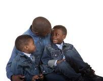 Un père et ses 2 fils Photo stock