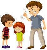Un père se plaignent des enfants illustration stock