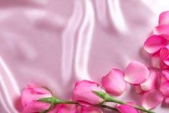 un pétale de roses rose doux de bouquet sur le tissu en soie rose mou, Roma Photo stock