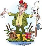 Un pêcheur à la ligne qui se trouvent Image stock