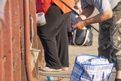 Un pêcheur sur la ficelle de rivage une amorce sur un crochet pour les poissons contagieux Photo stock