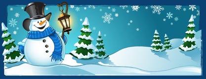 Escena del invierno del muñeco de nieve Fotos de archivo