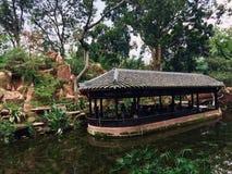 Un pabellón del agua en el templo ancestral de Sansu foto de archivo libre de regalías
