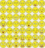 un pacchetto di 49 espressioni facciali Fotografia Stock