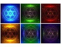Un pacchetto di HUD Elements Super di sei colori differenti Interfaccia utente futuristica di Sci fi Stella di Davide futuristica royalty illustrazione gratis