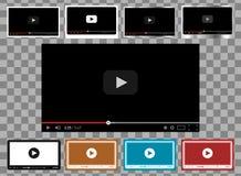 Un pacchetto di 9 in modelli di 1 riproduttore video per il web e lo stile piano dei apps del cellulare royalty illustrazione gratis