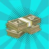 Un pacchetto di Pop art dei dollari Lle denominazioni di 100 nello stile comico Illustrazione di vettore ENV 10 Immagini Stock