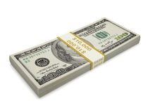 Un pacchetto isolato di cento banconote in dollari Fotografia Stock