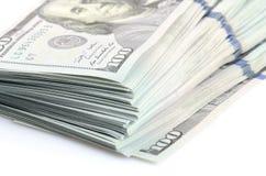 Un pacco di cento dollari di banconote Fotografia Stock