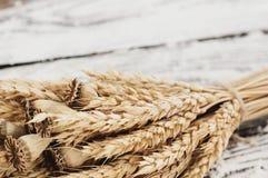 Un pacco di grano e papavero e farina sparsa sulle vecchie plance di legno Fotografie Stock