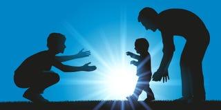 Un padre y una madre aprenden caminar a su niño stock de ilustración