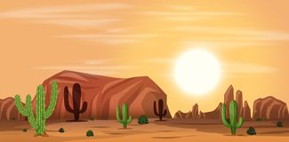 Un paesaggio caldo del deserto illustrazione di stock