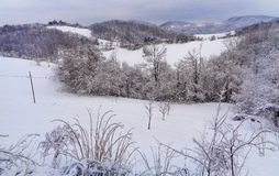 Un paesaggio della montagna con neve Immagini Stock Libere da Diritti