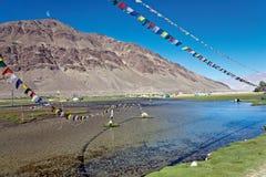 Un paesaggio di alluna vicino al monastero di Lamayuru, Leh-Ladakh, il Jammu e Kashmir, India Immagine Stock