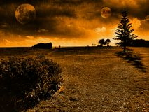 Un paesaggio di due lune Immagine Stock Libera da Diritti