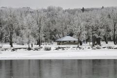 Un paesaggio di inverno del parco di bowness con il fiume nella priorità alta, Calgary, Canada dell'arco Fotografia Stock