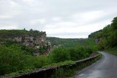 Un paesaggio di Rocamadour in un giorno esteriore Fotografia Stock
