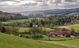 Un paesaggio rurale inglese con cereale di maturazione Fotografia Stock Libera da Diritti