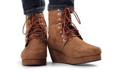 Un paio degli stivali marroni delle donne Immagine Stock Libera da Diritti