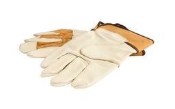 Un paio dei guanti del lavoro con la protezione riveste di pelle i cuscinetti Immagine Stock