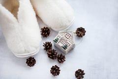 Un paio delle pantofole bianche accoglienti della pelliccia con i coni e una casa Posto per testo fotografie stock libere da diritti