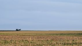 Un paisaje abierto de par en par, campos y horizonte, con un cochecillo traído por caballo de Amish, el condado de Lancaster, PA imagenes de archivo