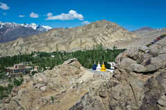 Un paisaje cerca del monasterio de Likir, Ladakh, Jammu y Cachemira, la India fotografía de archivo libre de regalías