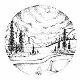 Un paisaje de la montaña con el río y los árboles Imágenes de archivo libres de regalías