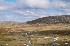 Un paisaje de la montaña con calas y nieve Imagen de archivo