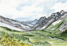 Un paisaje escénico - montañas, río y prado, ejemplo pintado a mano de la acuarela libre illustration