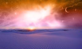 Puesta del sol del espacio de la fantasía Fotos de archivo